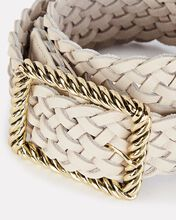 Janelle Braided Leather Buckle Belt, WHITE, hi-res