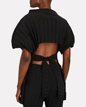 Pleated Open Back Top, BLACK, hi-res