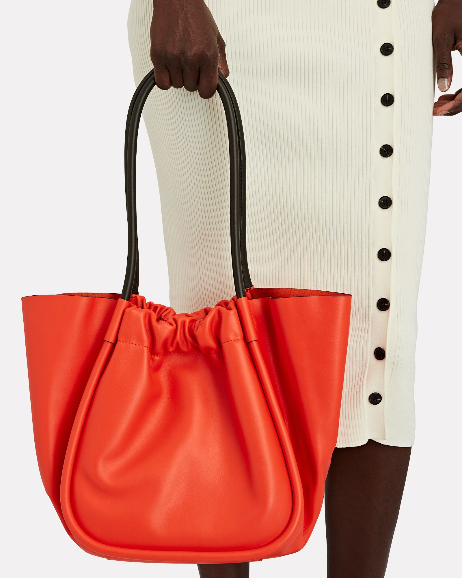 Ruched L Leather Tote, RED, hi-res