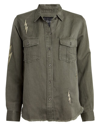 Loren Lightning Bolt Jacket, ARMY GREEN, hi-res
