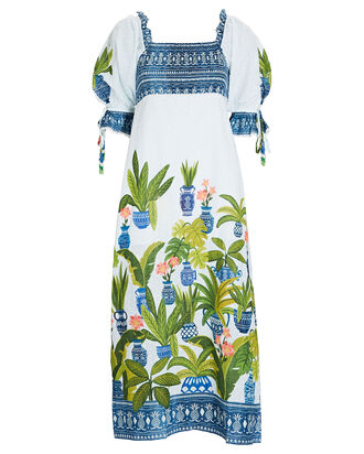 Vase Forest Cotton Midi Dress, WHITE/BLUE/GREEN, hi-res