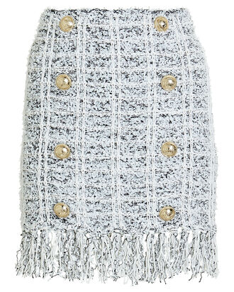 Fringed Tweed Button Mini Skirt, WHITE/BLACK/BLUE, hi-res