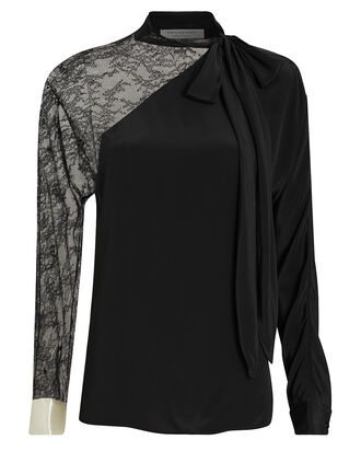 Lace-Trimmed Crepe Blouse, BLACK, hi-res