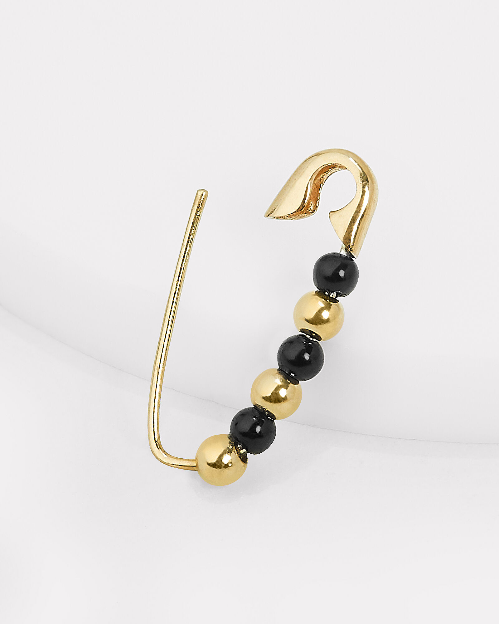 Friendship Safety Pin Single Earring, BLACK/GOLD, hi-res