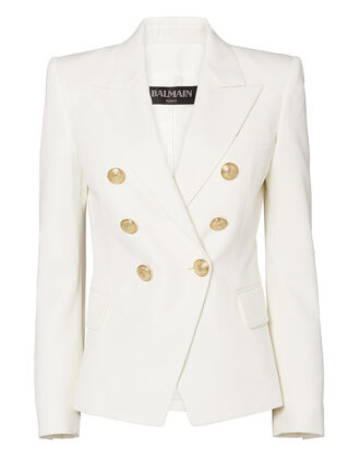 Classic Double-Breasted White Blazer, WHITE, hi-res