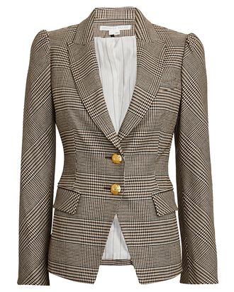 Arna Plaid Dickey Puff Sleeve Blazer, BROWN/BEIGE, hi-res