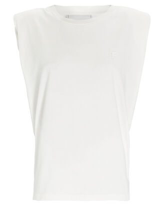 Padded Shoulder Crewneck T-Shirt, WHITE, hi-res