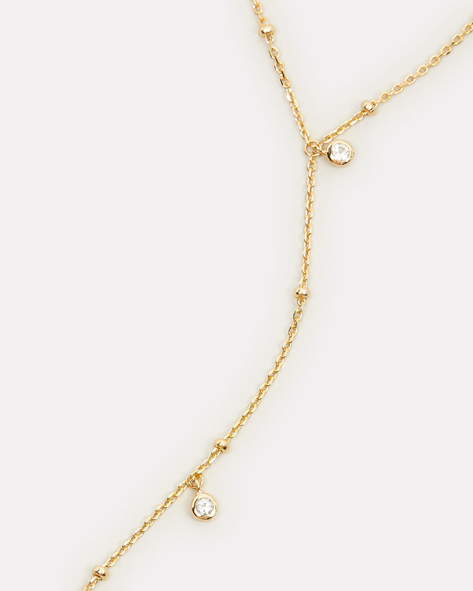 Delicate Crystal Lariat Necklace, GOLD, hi-res