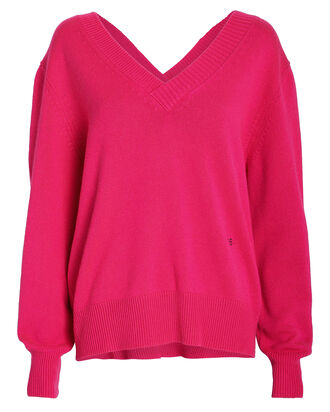 Double V Cashmere Sweater, PINK, hi-res
