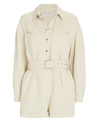Ambrocio Belted Long Sleeve Romper, IVORY, hi-res