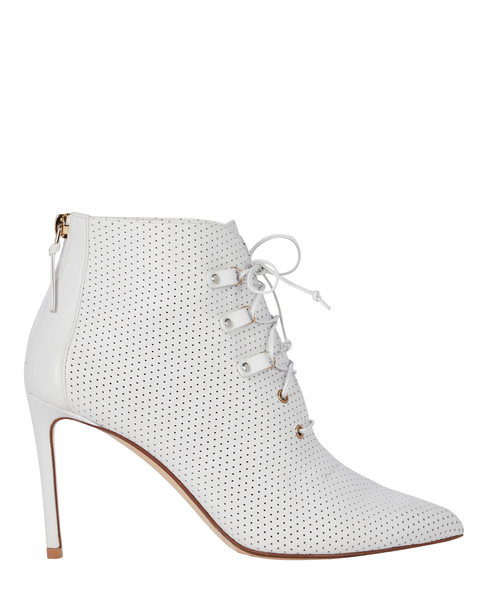 Perforated Leather Booties, WHITE, hi-res