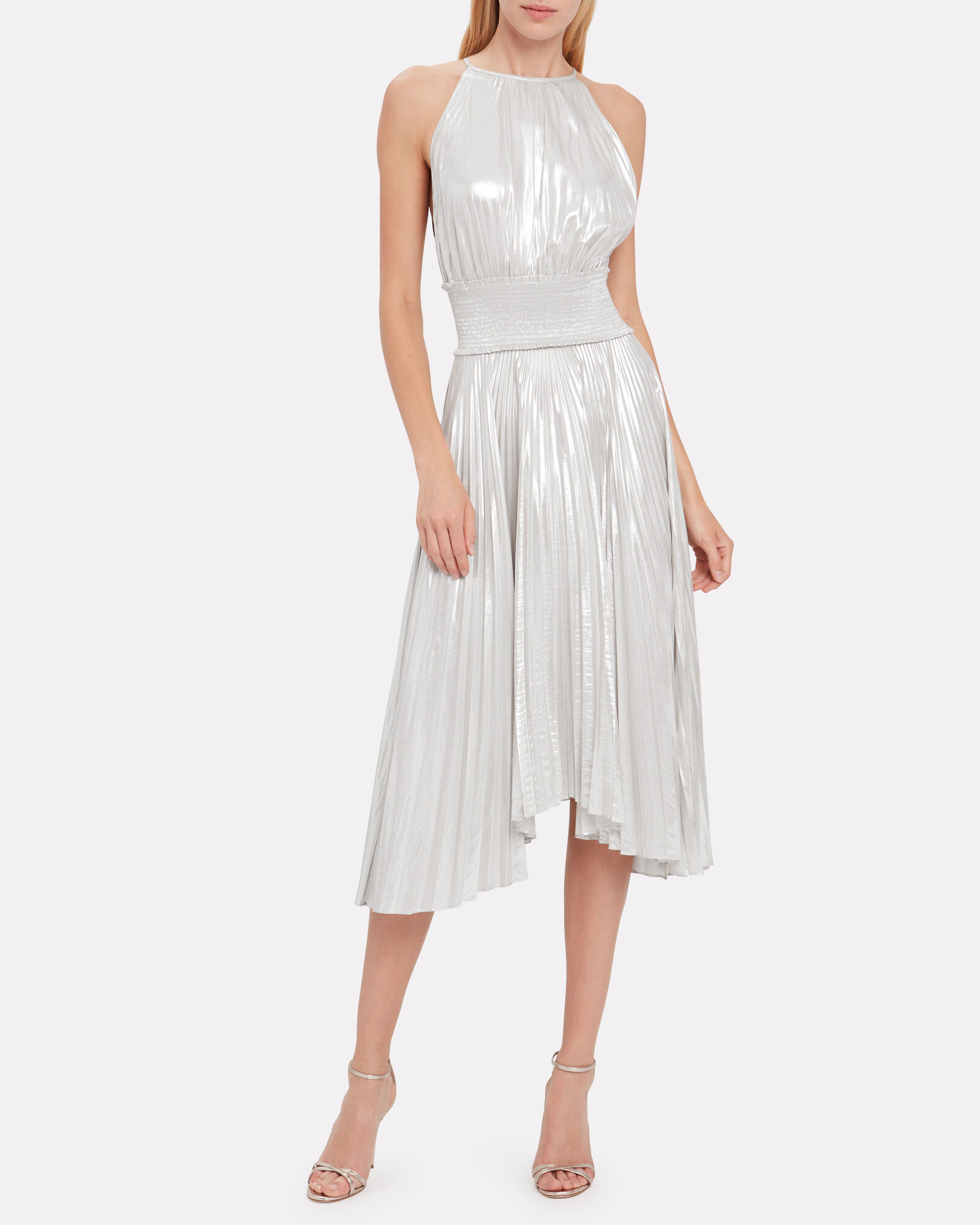 Weston Pleated Lamé Dress, SILVER, hi-res