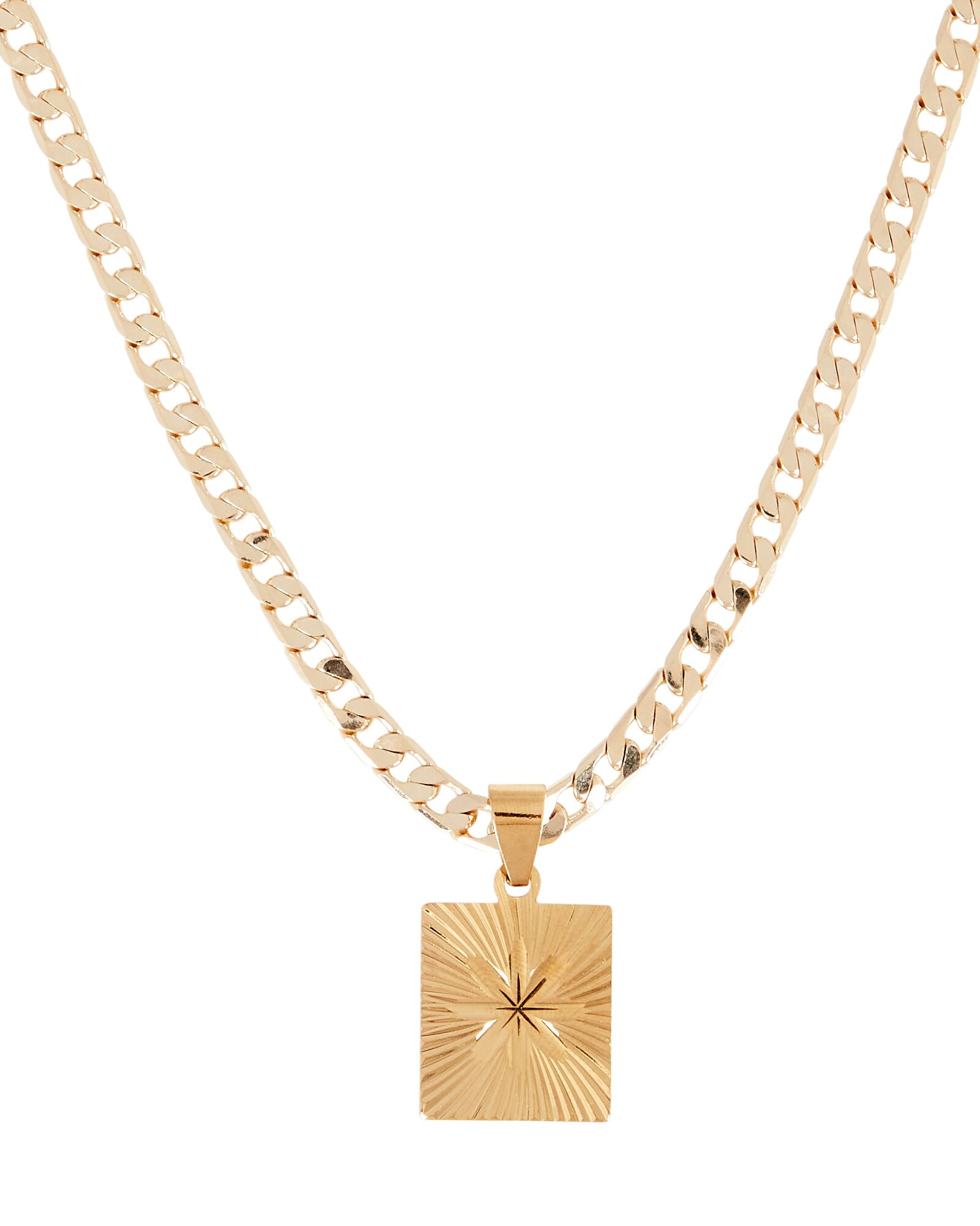 Baroness Flower Tag Chain Necklace, GOLD, hi-res