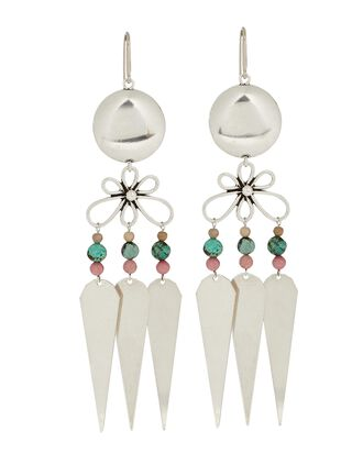 Beaded Chandelier Earrings, SILVER, hi-res
