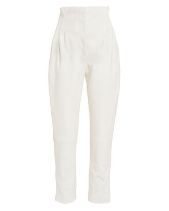 High Waist Leather Ankle Pants, IVORY, hi-res