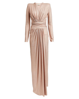 Rhinestone-Embellished Draped Jersey Dress, BLUSH, hi-res