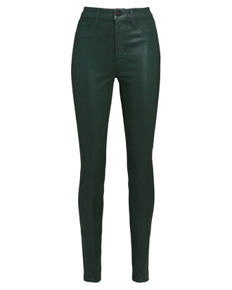 Marguerite Coated Skinny Jeans, EVERGREEN, hi-res