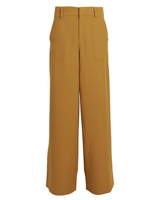 Lia Twill Wide-Leg Pants, BROWN, hi-res