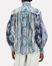 Glassy Ikat Silk-Linen Blouse, BLUE-MED, hi-res