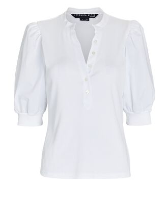 Coralee Puff Sleeve Henley T-Shirt, WHITE, hi-res
