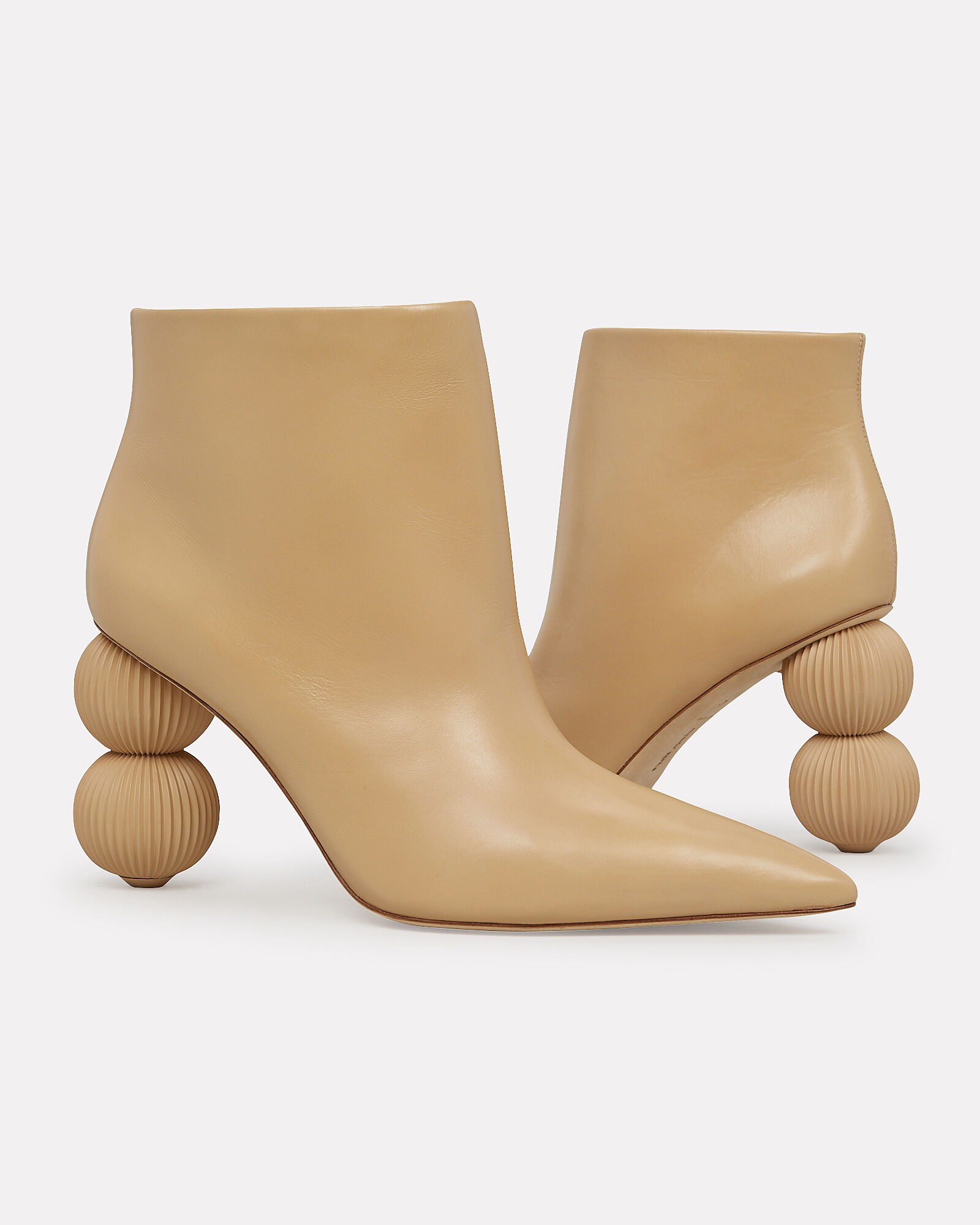 Cam Double Circle Heel Booties, BEIGE, hi-res