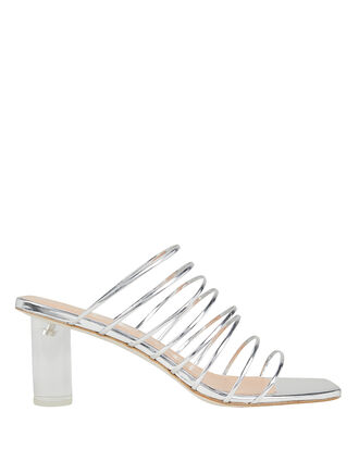 Zoe Lucite Heel Strappy Silver Sandals, SILVER, hi-res