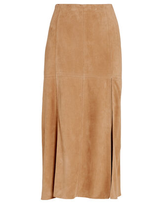 Esther Suede Paneled Skirt, BEIGE, hi-res