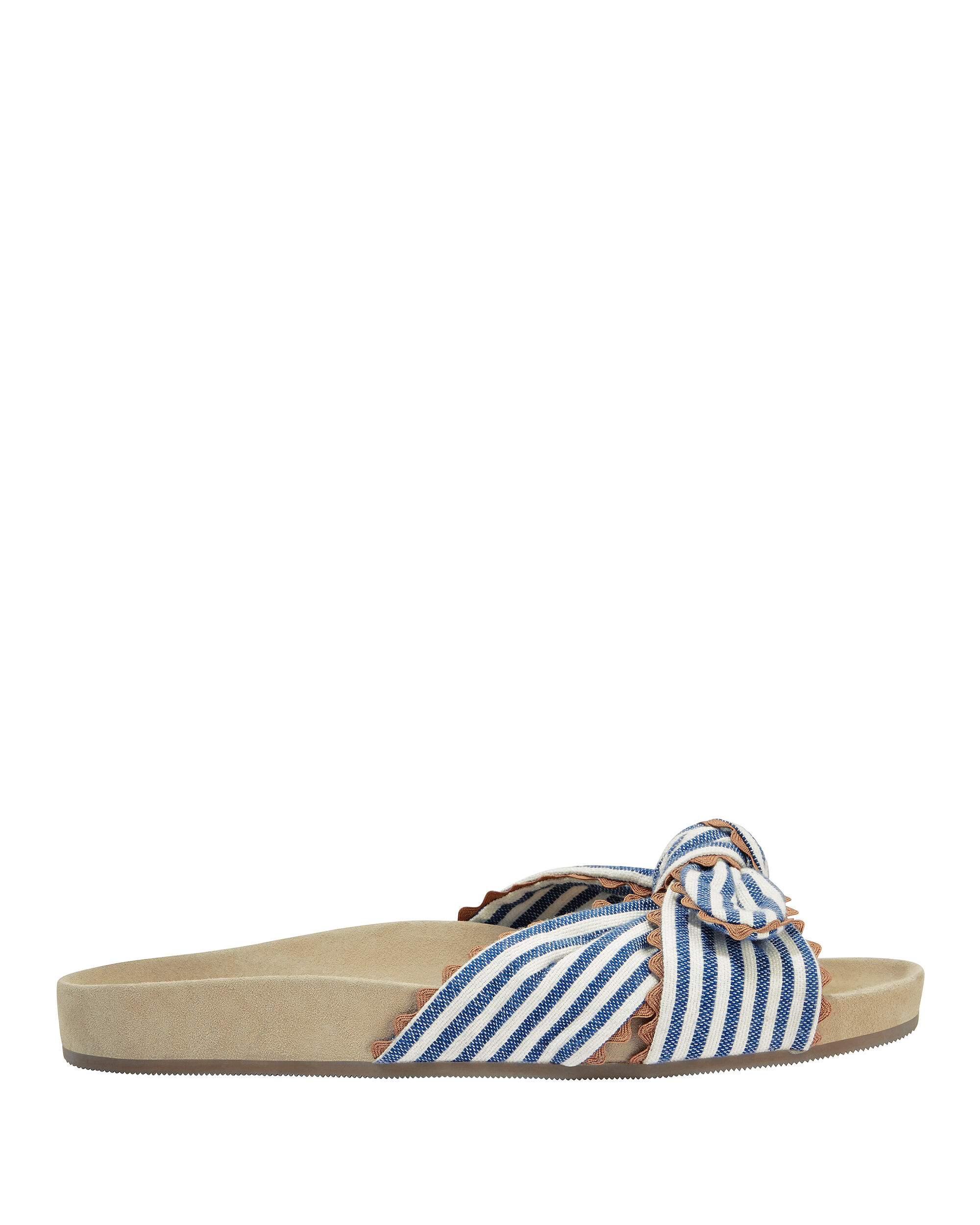 Beattie Bow-Detailed Striped Canvas Slides in Blue