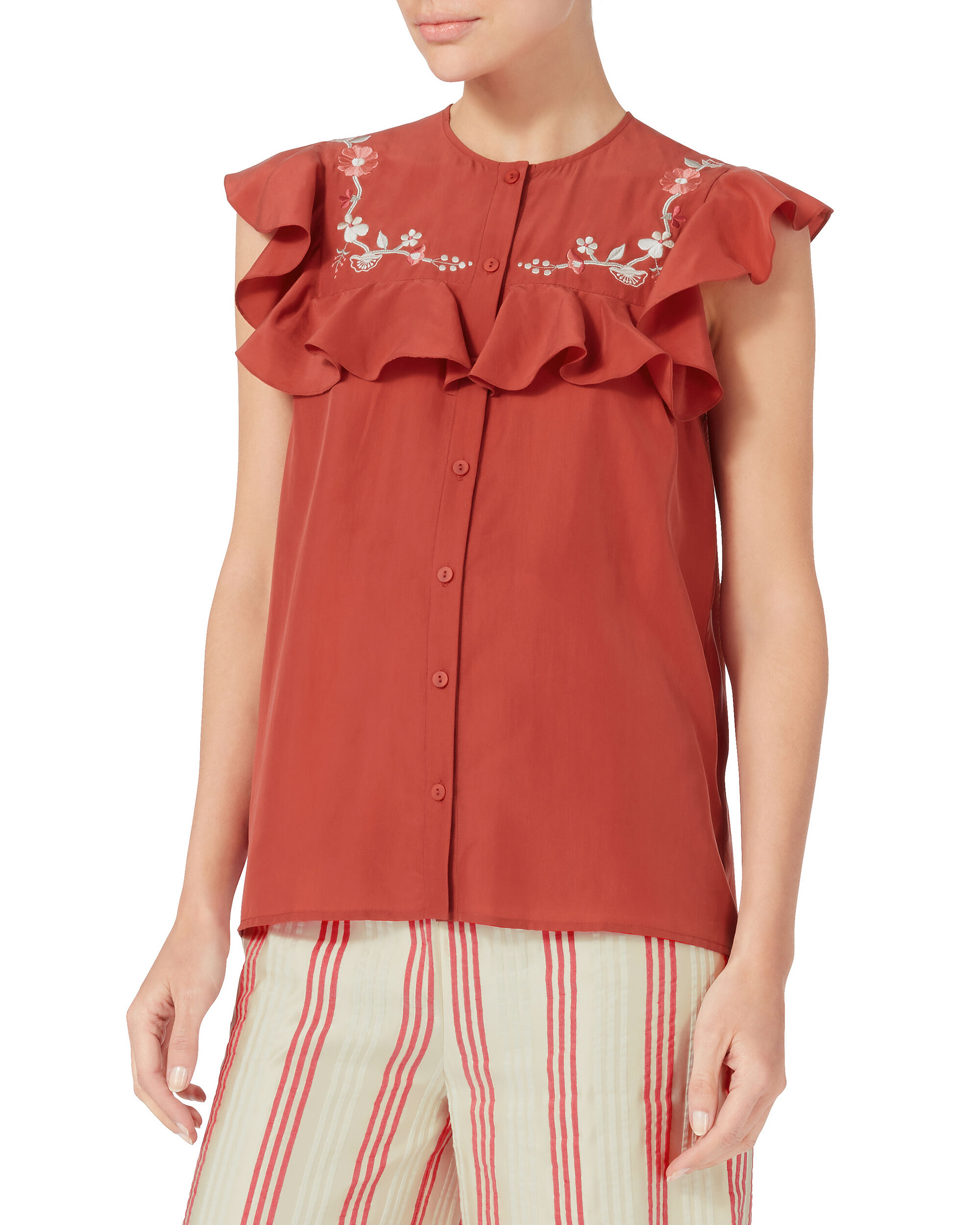 Casey Wreath Embroidered Top, RED, hi-res