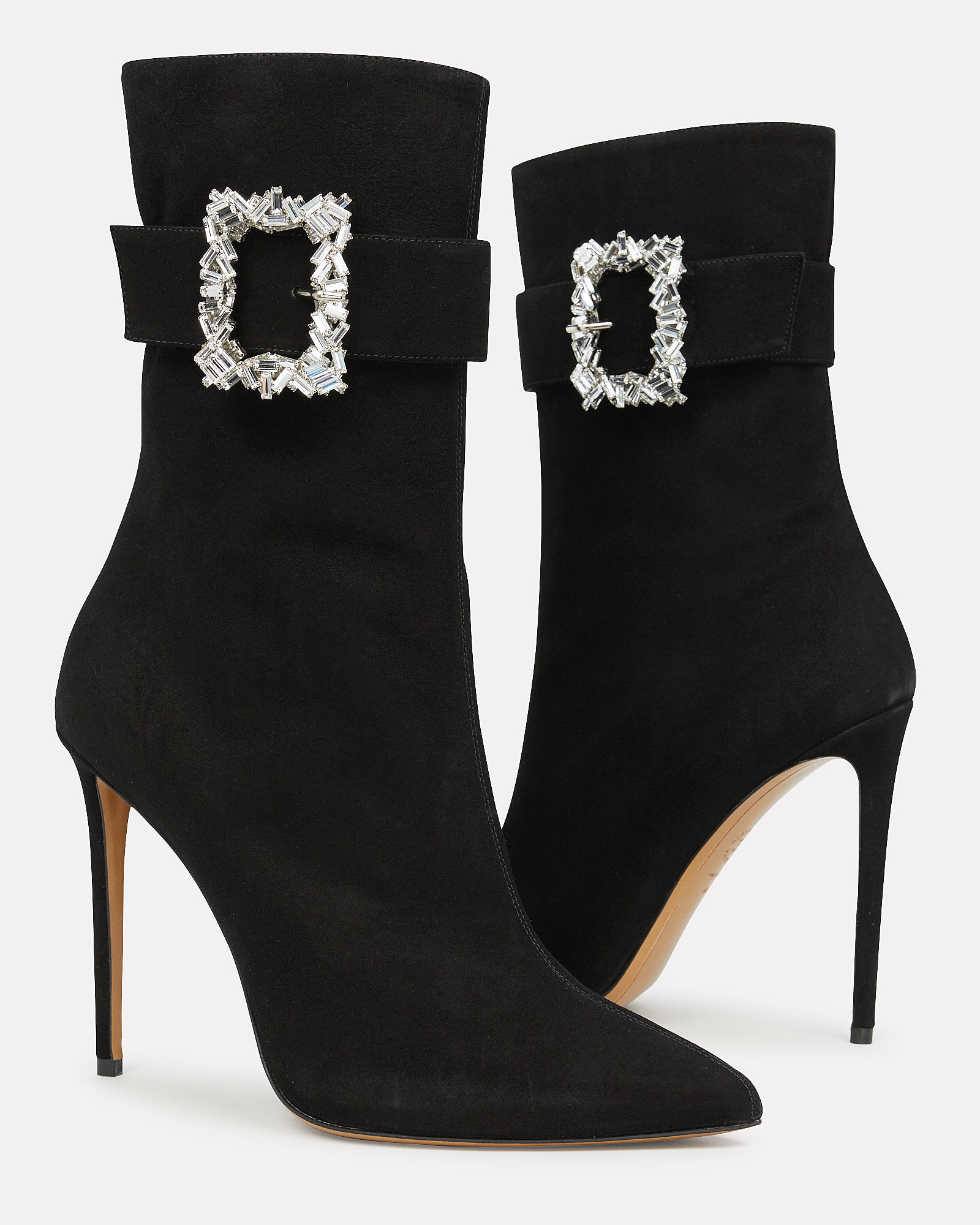 Roos Crystal Buckle Suede Bootie, BLACK, hi-res