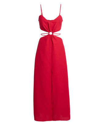 O-Ring Cut Out Maxi Dress, RED, hi-res