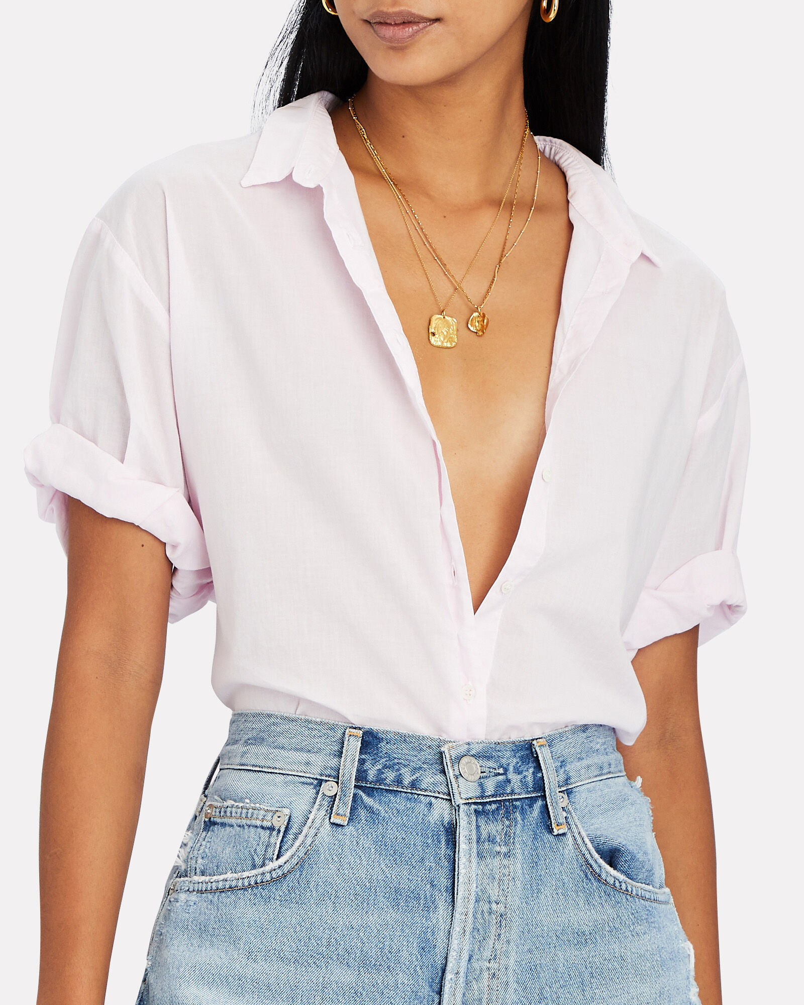 Channing Short Sleeve Button-Down Shirt, PINK, hi-res