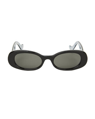Bi-Layer Oval Sunglasses, BLACK, hi-res