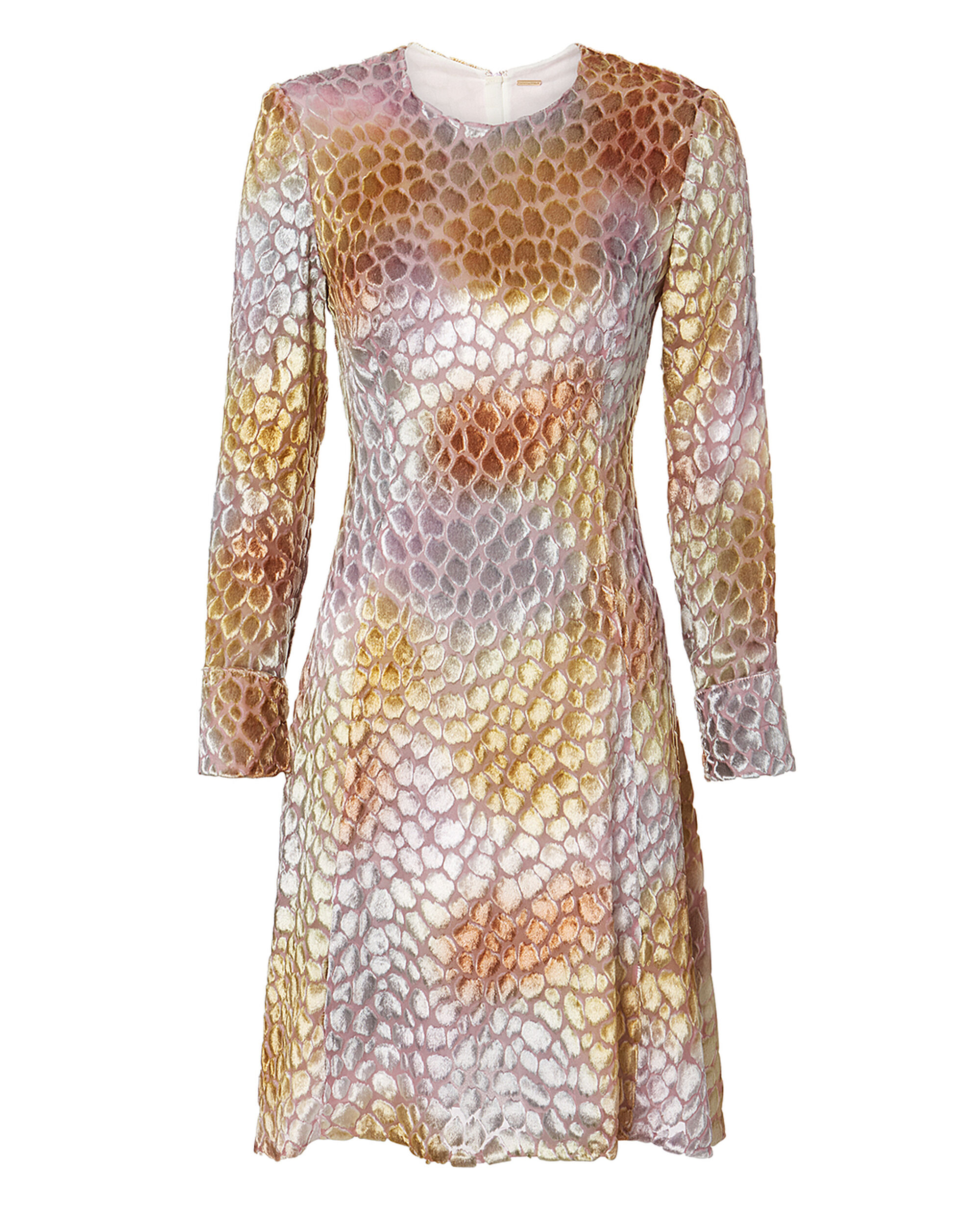Painted Velvet Jacquard Dress, MULTI, hi-res