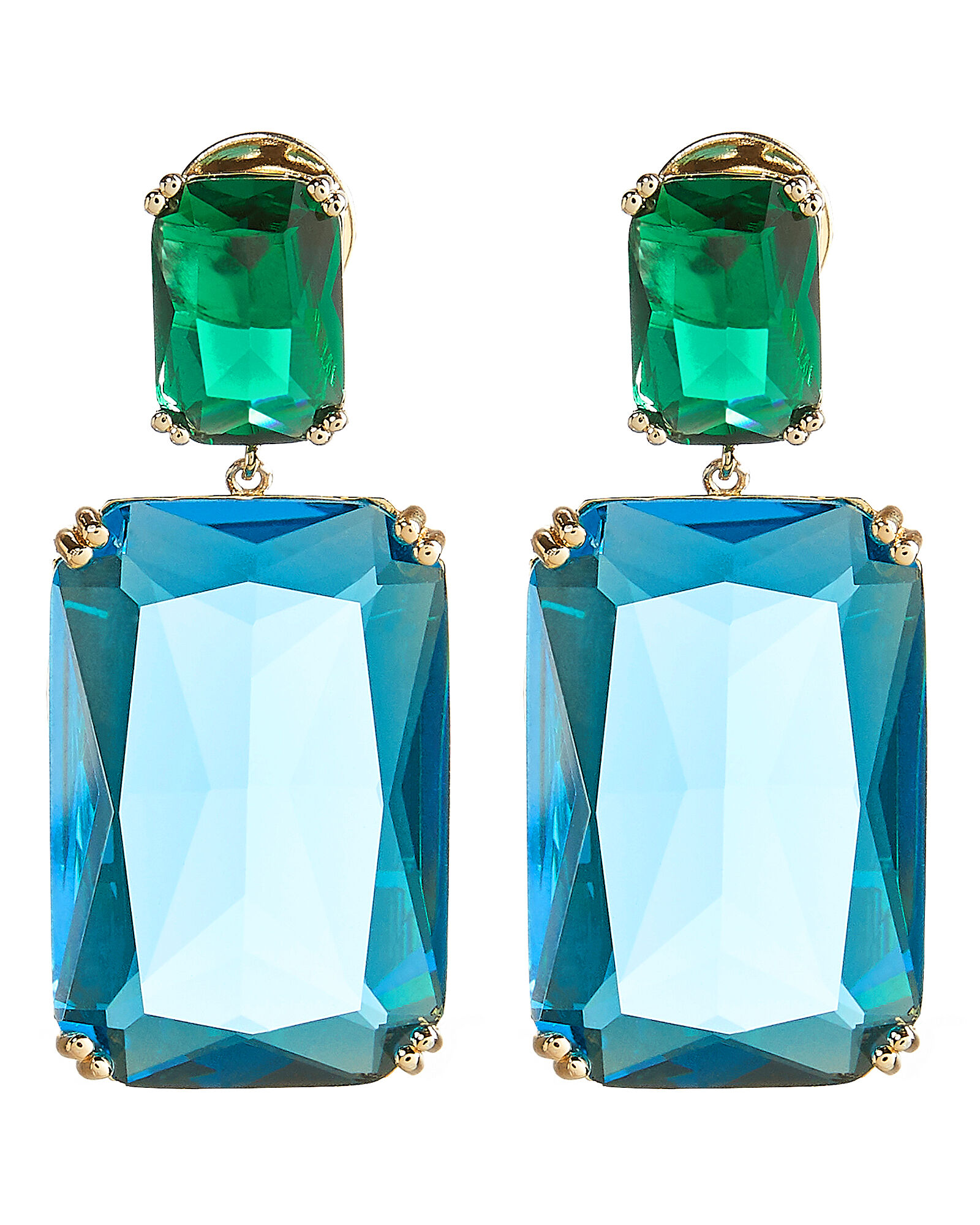 Rectangle Color Crystal Earrings, GREEN/BLUE/GOLD, hi-res