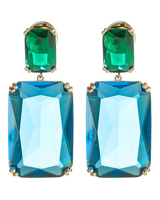 Rectangle Color Crystal Earrings, LIGHT BLUE, hi-res