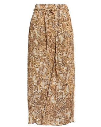 Indira 60's Animal Print Skirt, BROWN SNAKESKIN PRINT, hi-res