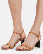 Magnolia Ostrich-Embossed Leather Sandals, BROWN, hi-res
