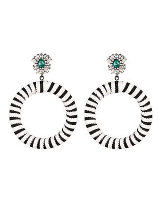 Lolita Stripe Round Earrings, BLACK/WHITE, hi-res