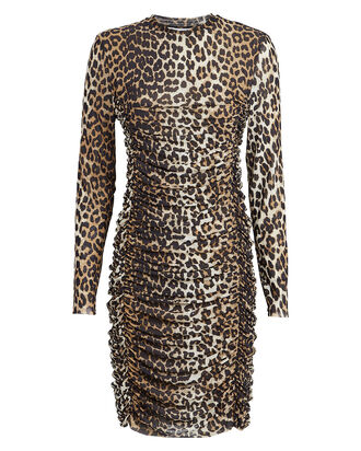 Leopard Ruched Mini Dress, MULTI, hi-res