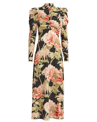 Espionage Floral Silk Dress, BLACK/PEONY, hi-res