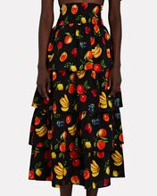 Paloma Tiered Printed Skirt, BLACK, hi-res