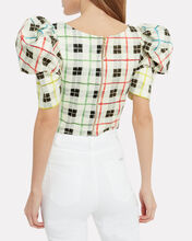 Brett Checked Bustier Crop Top, IVORY CHECK, hi-res