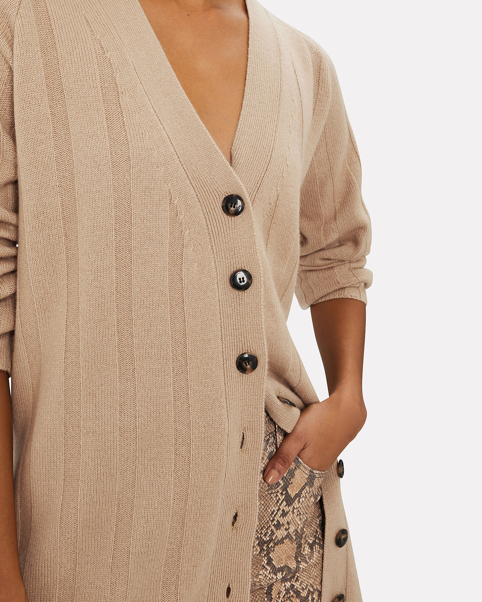 Cory Rib Knit Cashmere Duster, BEIGE, hi-res
