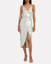 Lamé Jersey Wrap Dress, GOLD, hi-res