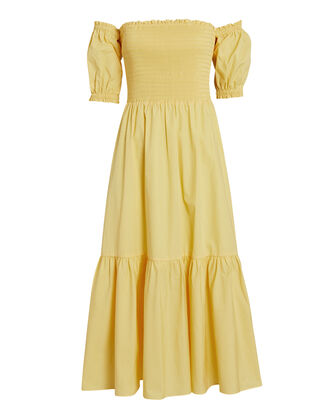 Aubrey Smocked Poplin Midi Dress, YELLOW, hi-res