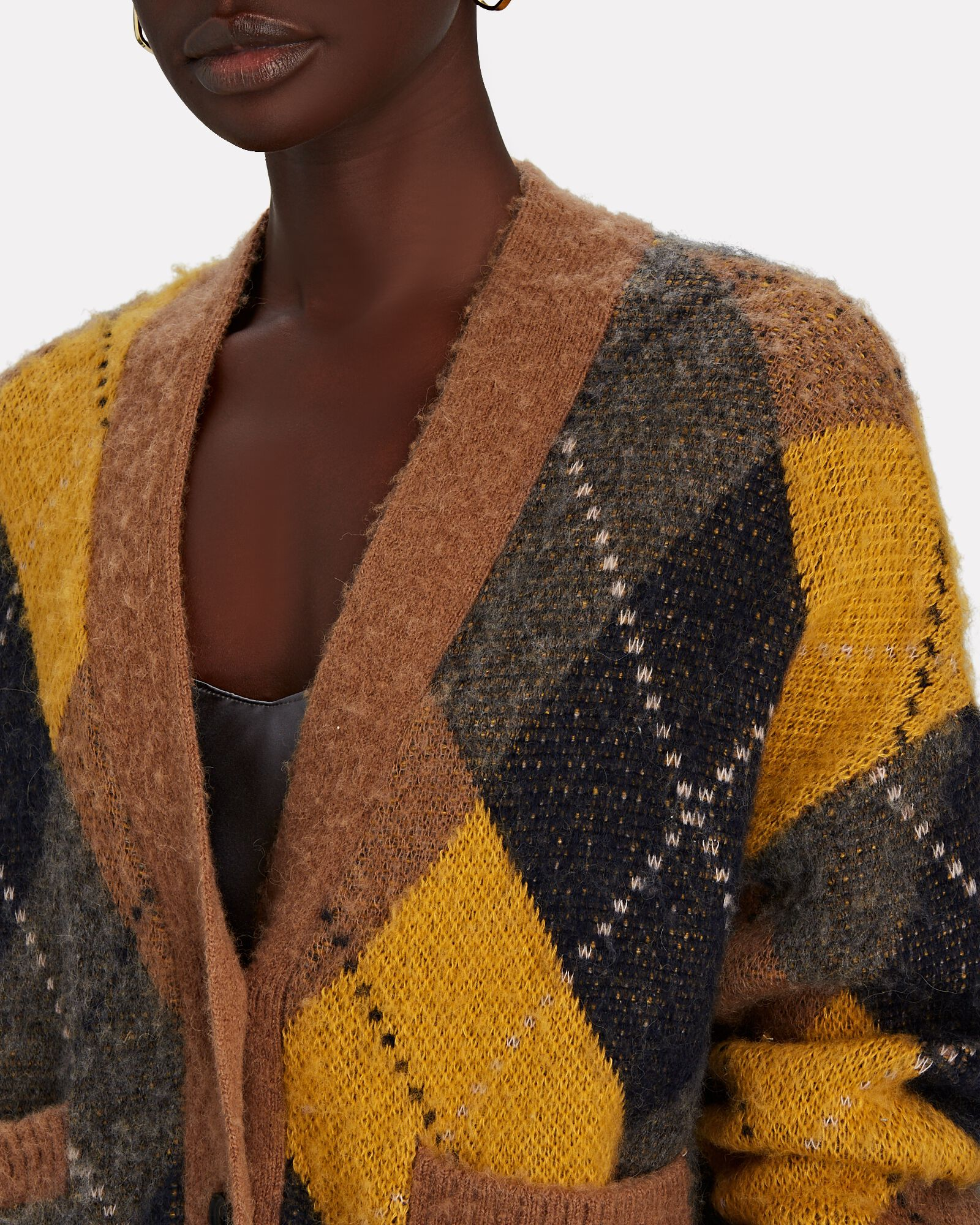 90s Oversized Cropped Cardigan, YELLOW, hi-res