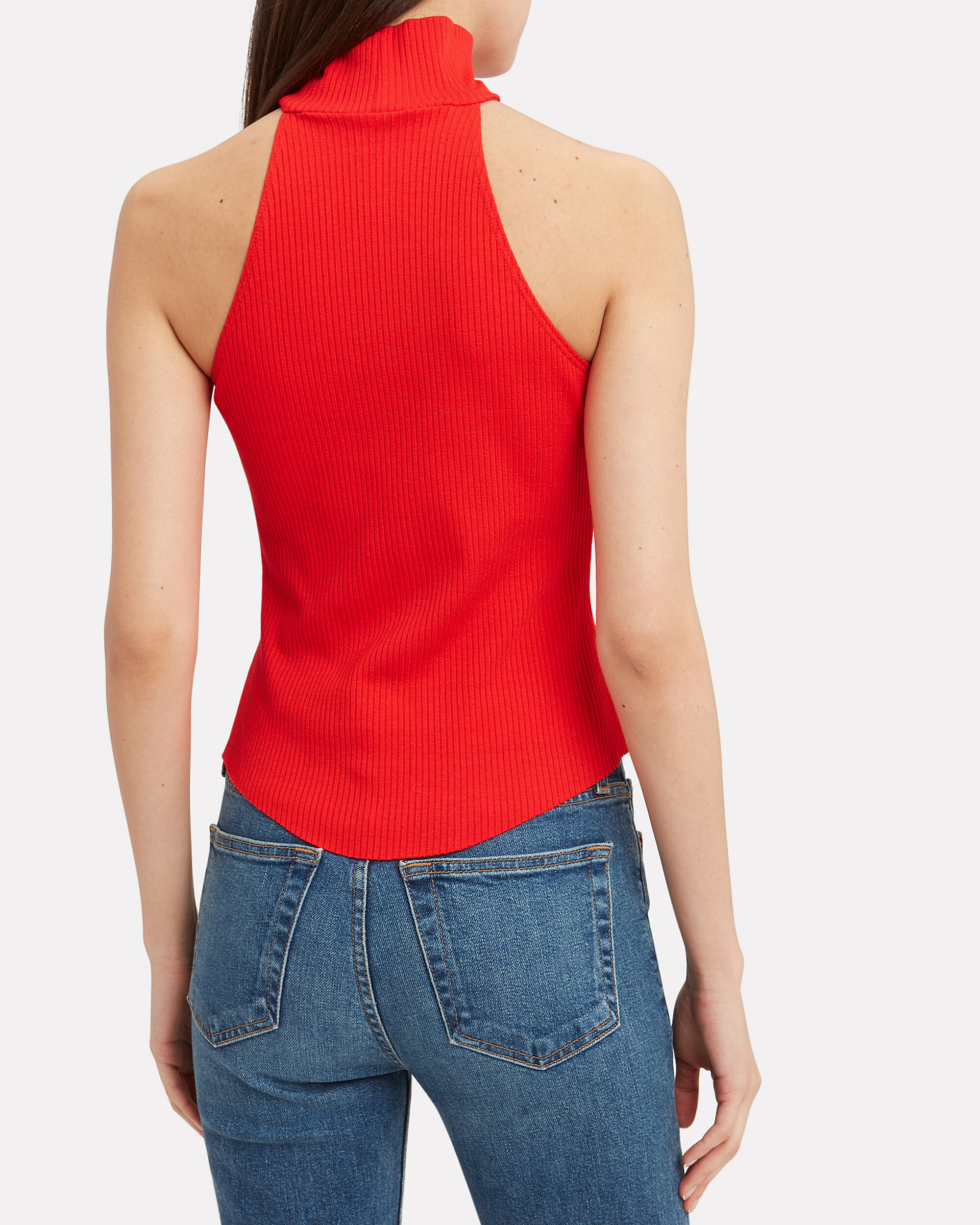 Alloy Sleeveless Turtleneck, RED, hi-res