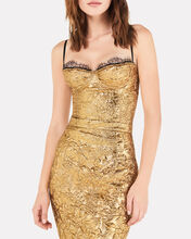 Lace-Trimmed Matelassé Bustier Top, GOLD, hi-res