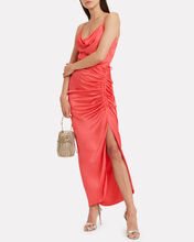Natasha Satin Draped Dress, CORAL, hi-res